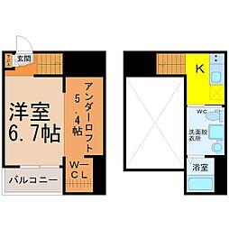 愛知県名古屋市千種区南明町1丁目の賃貸アパートの間取り