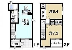 [テラスハウス] 奈良県奈良市六条1丁目 の賃貸【/】の間取り