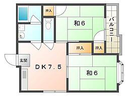 ロイヤルハイツ河合[2階]の間取り