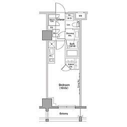ザ・パークハビオ恵比寿プレイス 6階ワンルームの間取り