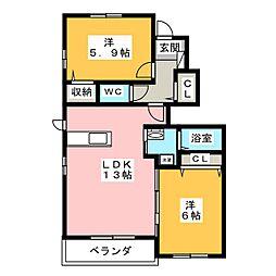 愛知県みよし市園原3丁目の賃貸アパートの間取り