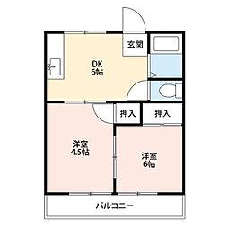 ハイツオオクマA[102号室]の間取り