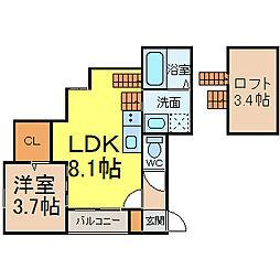 近鉄名古屋線 米野駅 徒歩7分の賃貸アパート 2階1LDKの間取り