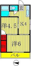 第二メゾン若竹[201号室]の間取り
