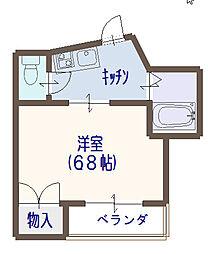 堂山ハイツB棟[3階]の間取り
