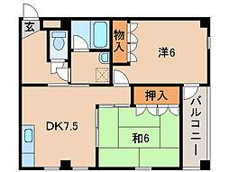 サーパス福島[2階]の間取り