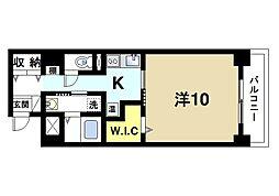 アイリスハイツ8号館 3階1Kの間取り