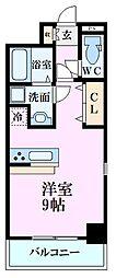 広島電鉄1系統 宇品4丁目駅 徒歩1分の賃貸マンション 9階ワンルームの間取り
