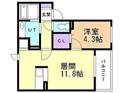エスコート澄川 2階1LDKの間取り