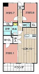 Merveille Ishida[602号室]の間取り
