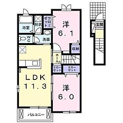 ユニゾン B[2階]の間取り