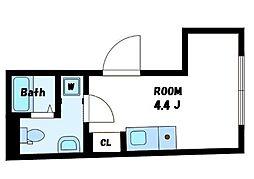CONTEL SHINANOMACHI 3階ワンルームの間取り