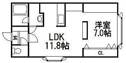 北海道札幌市豊平区平岸一条8の賃貸アパートの間取り