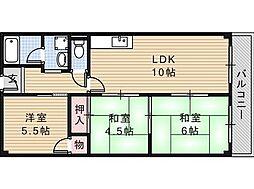 大阪府摂津市東正雀の賃貸マンションの間取り
