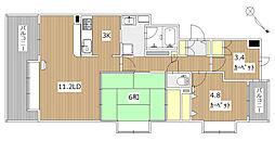 北海道札幌市中央区北七条西22丁目の賃貸マンションの間取り