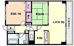 シャムロックコート西岡本[5階]の間取り