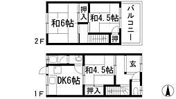 大阪府池田市神田3丁目の賃貸アパートの間取り