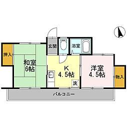 ガーデンテラス川崎(最上階、南向き、日当たり良好)[304号室]の間取り