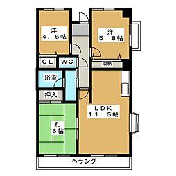 キャッスル静岡[6階]の間取り