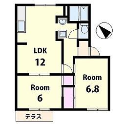 滋賀県草津市平井1の賃貸アパートの間取り