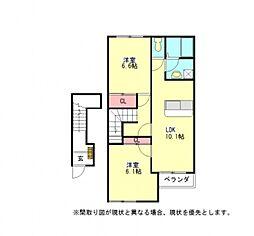 愛知県一宮市東五城字寺廓の賃貸アパートの間取り