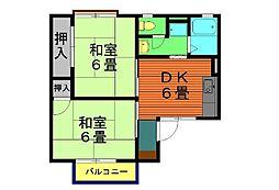 愛知県安城市篠目町古林畔の賃貸アパートの間取り