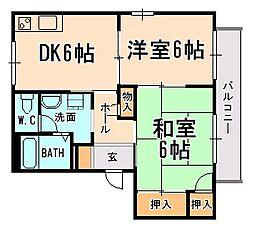 兵庫県宝塚市安倉西3丁目の賃貸アパートの間取り