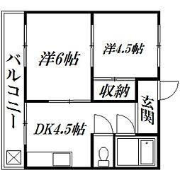 静岡県浜松市南区西町の賃貸マンションの間取り