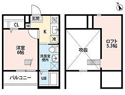 愛知県名古屋市中川区長良町5丁目の賃貸アパートの間取り