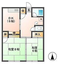 伝田ハイツ[1階]の間取り