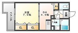 デルフィ薬院[4階]の間取り