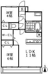 エクセル新川崎[4階]の間取り