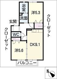 BellクラヴィエA[1階]の間取り