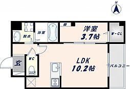 Osaka Metro千日前線 北巽駅 徒歩17分の賃貸マンション 7階1LDKの間取り