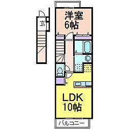 栃木県鹿沼市栄町3の賃貸アパートの間取り