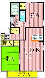 千葉県松戸市東松戸1丁目の賃貸アパートの間取り