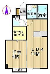 パークサイド早稲田 A[1階]の間取り