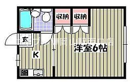 岡山県岡山市北区中井町1丁目の賃貸アパートの間取り