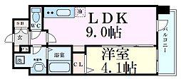 アドバンス新大阪ウエストゲートII 12階1LDKの間取り