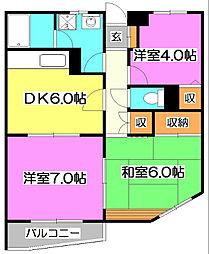竹丘パークハイム[1階]の間取り