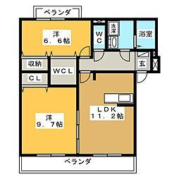 ボヌールノース[1階]の間取り