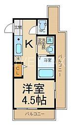 サンフェリシアン東福寺 2階1Kの間取り