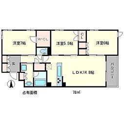 プレージア京都聖護院ノ邸[1階]の間取り