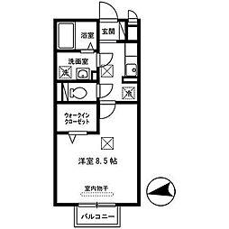 豊岡市昭和町 セントヒルズ 2階1Kの間取り