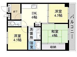クレール辻堂 4階3DKの間取り