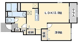 JR阪和線 和泉砂川駅 徒歩5分の賃貸アパート 1階1LDKの間取り
