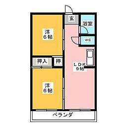第1アラカワハイツ[3階]の間取り