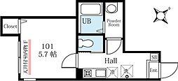 ハーミットクラブハウス山手柏葉 1階1Kの間取り
