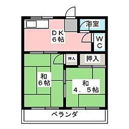 里中荘[2階]の間取り