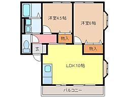 静岡県富士宮市淀師の賃貸アパートの間取り
